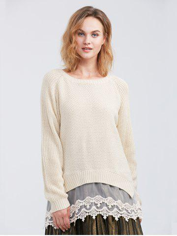 Cheap Raglan Sleeve Lace Spliced Asymmetric Pullover Sweater OFF-WHITE XL