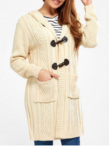 Affordable Hooded Long Cable Knit Cardigan PALOMINO XL