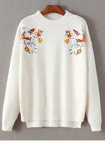 Sale Crew Neck Floral Embroidered Pullover Sweater