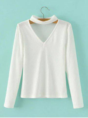 Cheap Keyhole Neck Pullover Ribbed Sweater