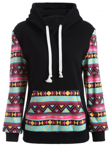 Best Casual Geometric Print Pullover Hoodie BLACK XL