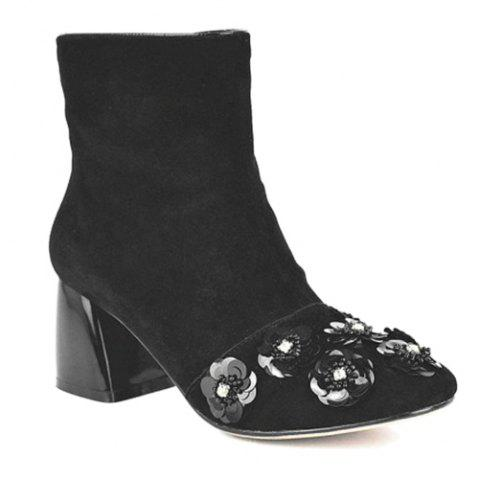 Square Toe Squined Flowers Ankle Boots - BLACK 39