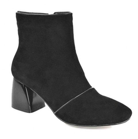 Store Chunky Heel Square Toe Zip Ankle Boots