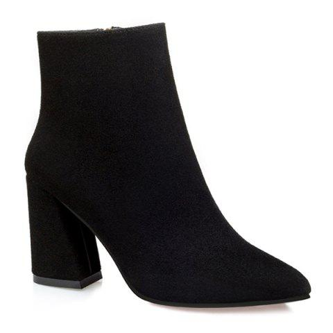 Outfit Pointed Toe Chunky Heel Zip Ankle Boots BLACK 37