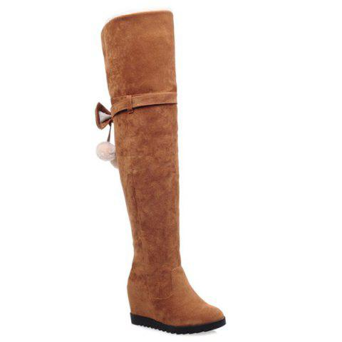 Buy Hidden Wedge Bow Pompons Thigh Boots