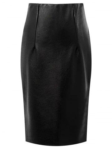 Fancy Faux Leather High Waisted Pencil Skirt BLACK L