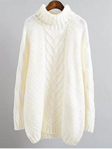 Cable Knit Mini Polo Neck Jumper Dress - White - One Size
