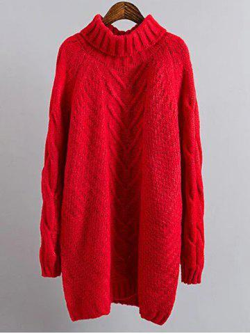 Cable Knit Mini Polo Neck Jumper Dress - Red - One Size