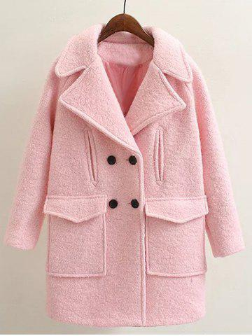 Hot Long Double Breasted Wool Coat PINK L