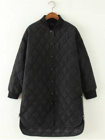 High Low Long Winter Argyle Padded Coat Jacket - Black - M