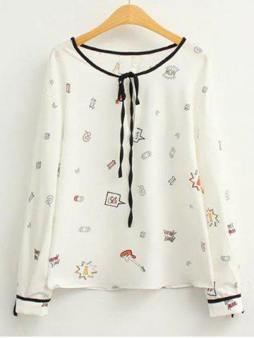 Fancy Long Sleeve Cartoon Printed Blouse