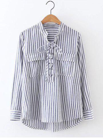 Online Striped High Low Lace Up Shirt GRAY M