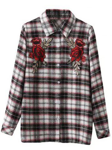 Affordable Embroidered Plaid Long Sleeve Shirt