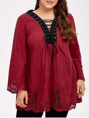 Plus Size Hollow Out Lace Up Blouse - Wine Red - 2xl