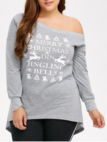Online Plus Size Skew Neck High Low Christmas T-Shirt GRAY 5XL
