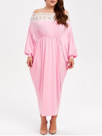 Cheap Off Shoulder Plus Size Maxi Batwing Formal Dress