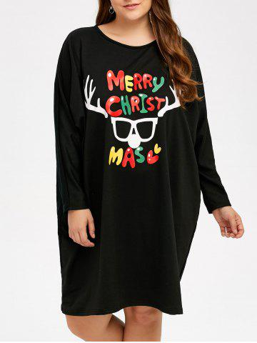Trendy Casual Plus Size Letter Print Long Sleeve Christmas Dress BLACK ONE SIZE