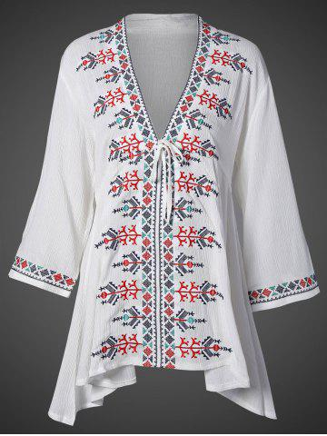 Outfits Plunging Neck Embroidered Flare Sleeve Top