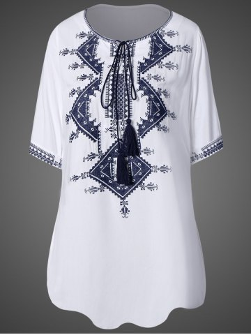 Unique Scoop Neck Embroidered Tunic Dress