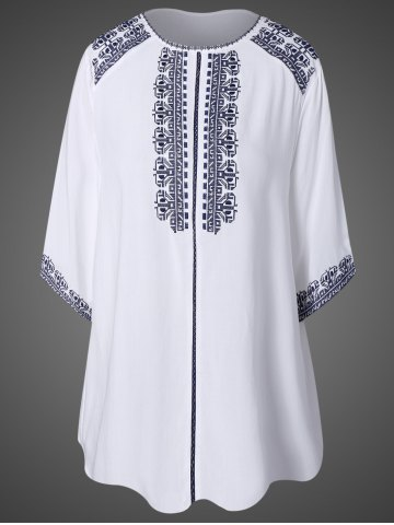 Trendy Embroidered Top With Tassel