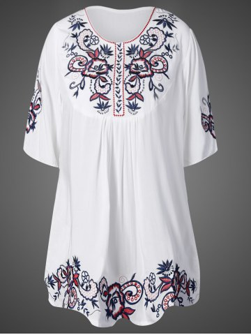 New Embroidered Relaxed Mini TunicDress