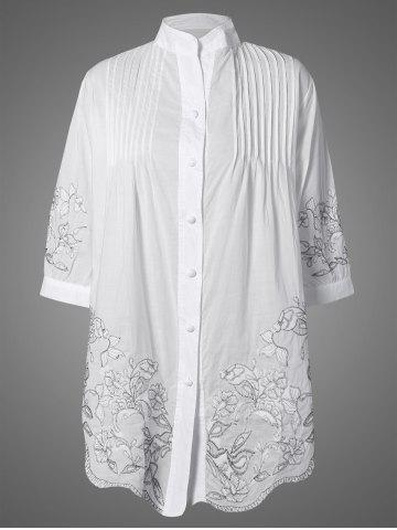 Latest Embroidered Pintuck Button Up Blouse