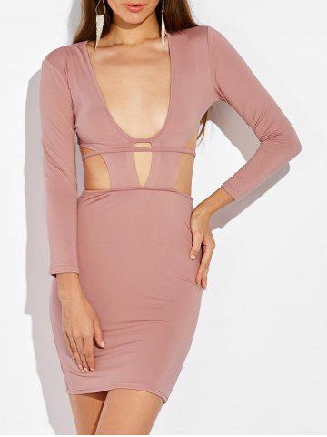 Trendy Cut Out Tie Back Bodycon Dress NUDE PINK XL