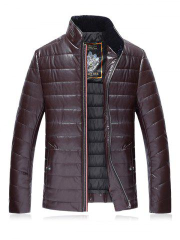 Stand Collar Plus Size PU Leather Zip Up Down Jacket - Claret - 3xl