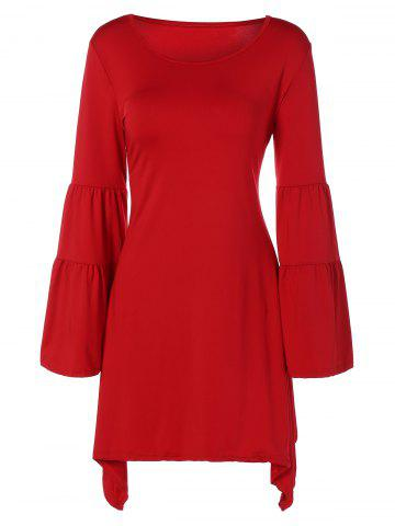 Trendy Flare Sleeve Dress RED XL