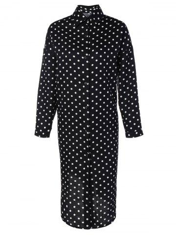 Discount Polka Dot Button Up Shirt Dress
