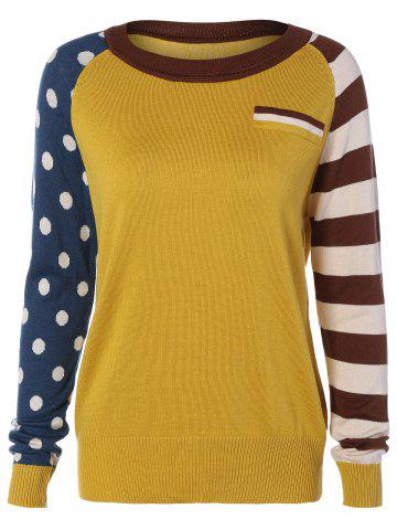 Chic Polka Dot and Striped Sleeve Sweater YELLOW ONE SIZE