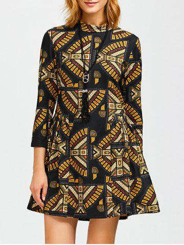 Affordable Ornate Print Slimming A Line Dress