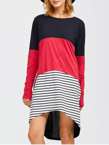 Discount Asymmetrical Striped Contrast Dress