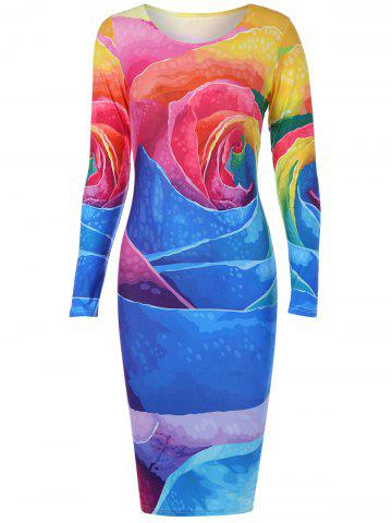 Outfit Long Sleeve Colorful Big Rose Print Dress