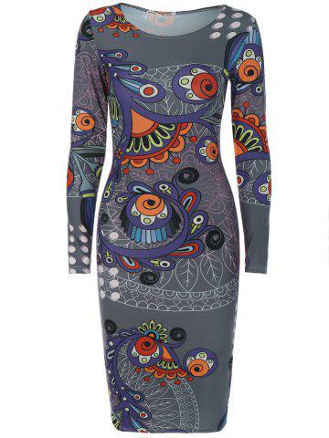 Chic Long Sleeve Creative Doodle Print Bodycon Dress GRAY 2XL