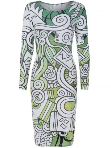 Outfits Long Sleeve Multielement Doodle Print Dress
