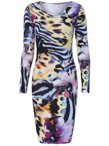 Chic Long Sleeve Tiger Stripe Print Dress COLORMIX 2XL