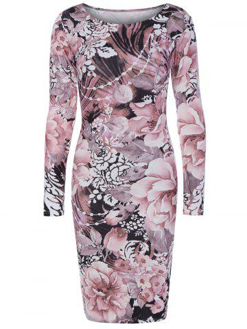 Discount Long Sleeve Fulled Flowers Print Dress NUDE PINK 2XL