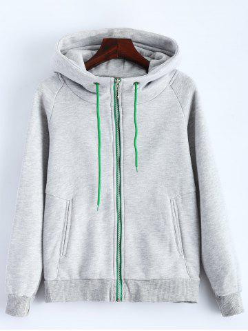 Outdoor Drawstring Zipper Up Hoodie