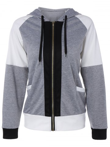 Hot Color Block Zipper Up Hoodie With Pocket GRAY XL
