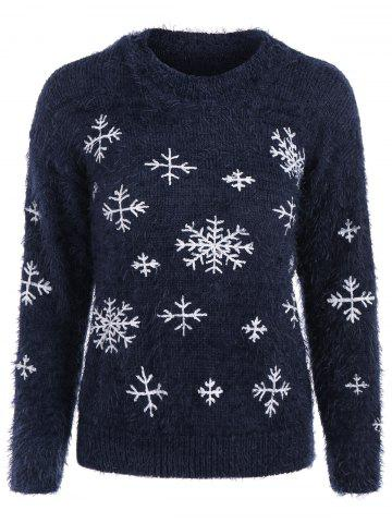 Chic Christmas Snowflake Fuzzy Mohair Sweater