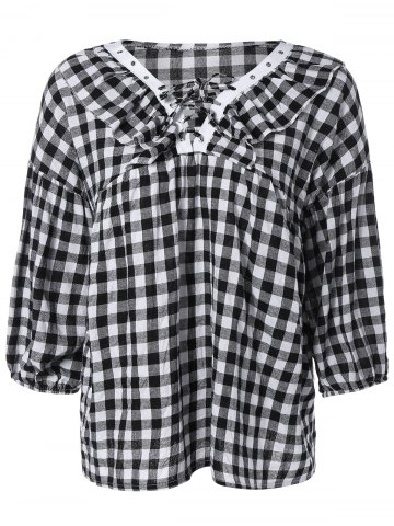 Buy Puff Sleeve Lace-Up Plaid Blouse PLAID 5XL