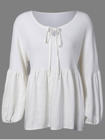New Puff Sleeve Knitted Insert Blouse WHITE 5XL