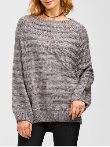 New Dolman Sleeve Side Slit Loose Sweater GRAY ONE SIZE