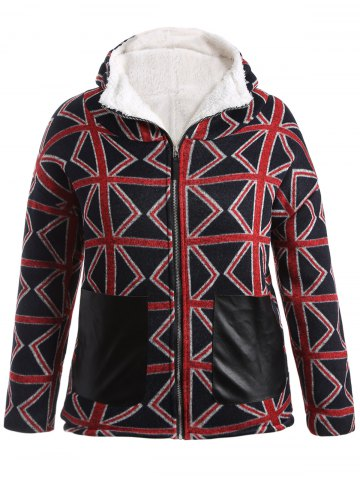 Chic Plus Size Geometric Graphic Fleece Lined Hooded Coat RED 5XL