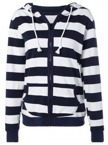 Striped Drawstring Zip Up Hoodie Bleu Violet L