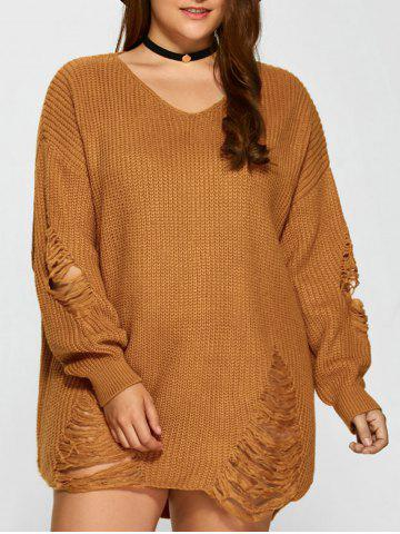 Outfit Distressed Plus Size Sweater EARTHY 4XL