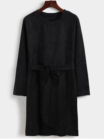 Shop Faux Suede Belted Long Sleeve Dress
