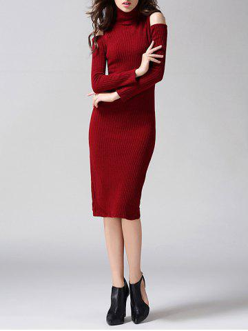 Trendy Knit Cold Shoulder Turtleneck Midi Dress