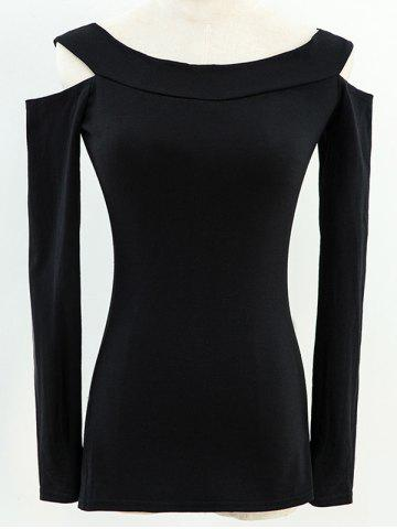 Shop Long Sleeve Fitted Off The Shoulder T-Shirt